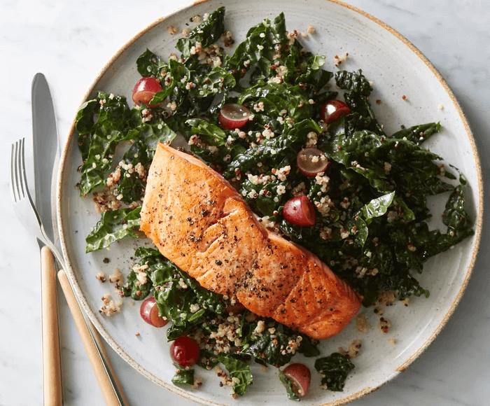 Roasted Salmon with Kale-Quinoa Salad